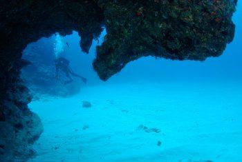 タツノオトシゴ岩よりダイバーを望む