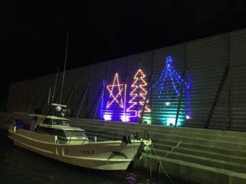今年も船のそばにイルミネーションが!